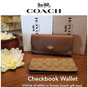 NEW Coach Signature Checkbook Wallet in Saddle 2